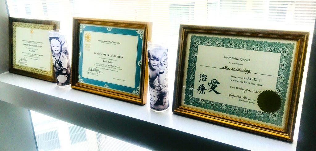 Bruce Bailey's Certificates of Completion of several healing modalities