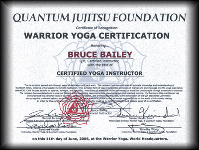 Quantum Jiujitsu Foundtion | Warrior Yoga Certificate for Bruce Bailey
